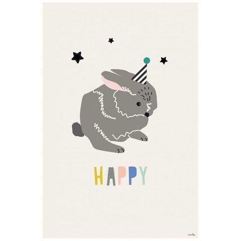 Mimilou poster konijn Happy