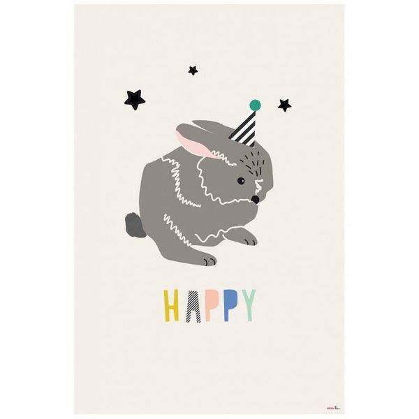 Mimi'lou Mimilou kinderposter konijn Happy