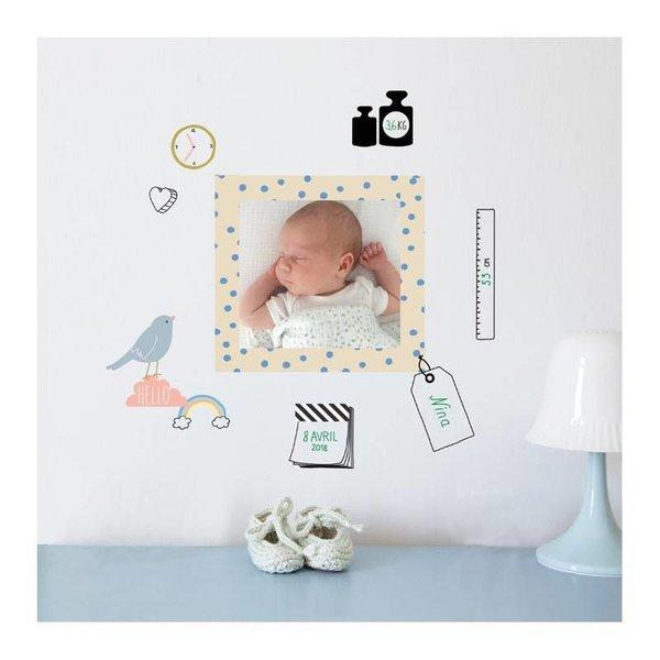 Mimi'lou Mimilou mini muurstickers geboorte Cadre de Naissance