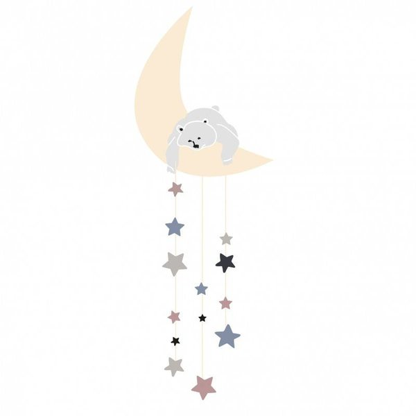 Mimi'lou Mimilou mini muurstickers maan Bear on the Moon