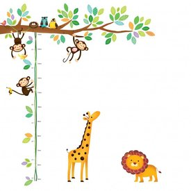Decowall Decowall muursticker meetlat tak Little Monkeys