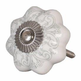Clayre & Eef Deurknopje bloem wit met grijs groen patroon
