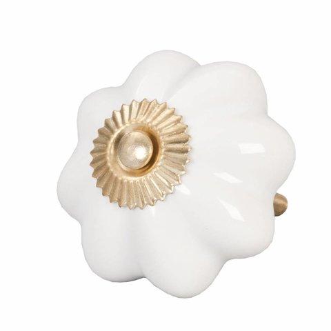 Deurknopje bloem wit met met gouden kroontje