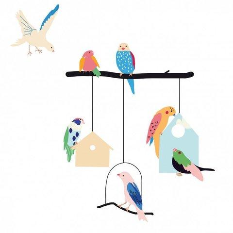 Mimilou muursticker vogels en vogelhuisjes