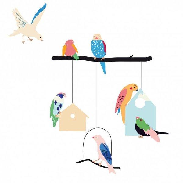Mimi'lou Mimilou muursticker kinderkamer vogels en vogelhuisjes