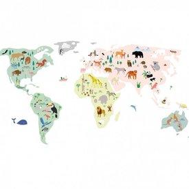 Mimi'lou Mimilou muursticker wereldkaart  worldmap