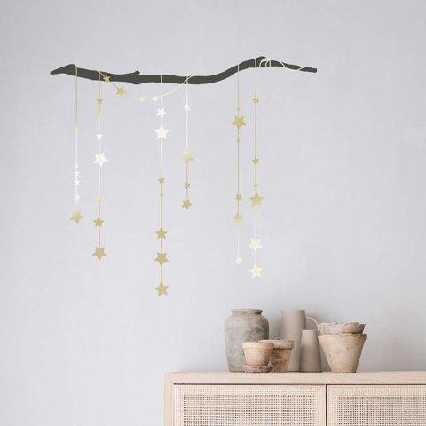 Mimilou muursticker tak  met gouden sterren slinger