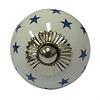 La Finesse kastknopje wit met donkerblauwe sterren