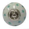 La Finesse kastknopje wit met mintgroene sterren