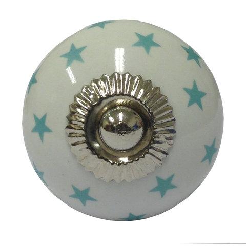 La Finesse deurknop wit met mint groene  sterren