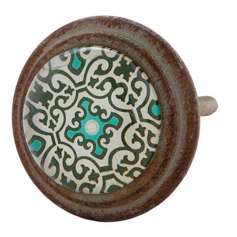 Clayre & Eef kastknop groen patroon vintage