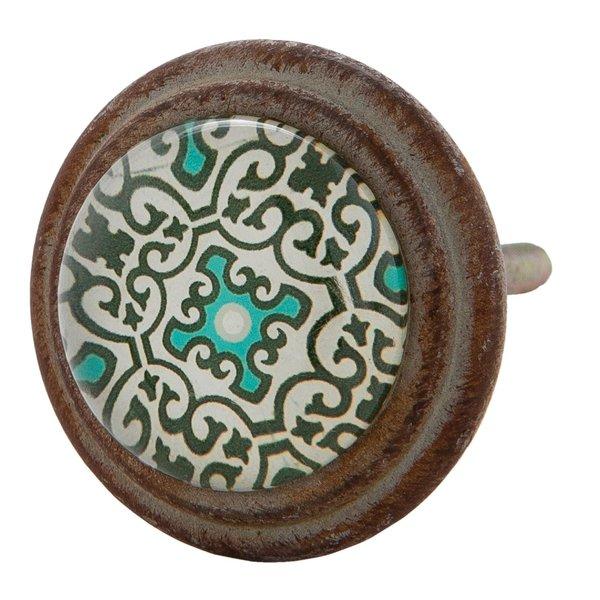 Clayre & Eef Clayre & Eef deurknop groen patroon vintage