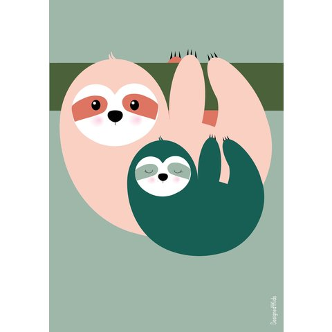 Designed4Kids poster A3 poster luiaard roze