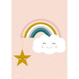 Designed4Kids Poster wolk en regenboog met ster
