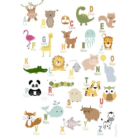 Designed4Kids poster dieren alfabet