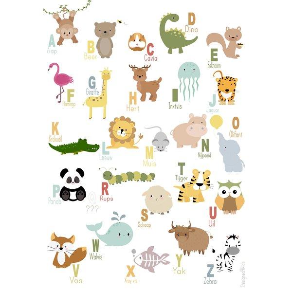 Designed4Kids Designed4Kids kinderposter A3 dieren alfabet