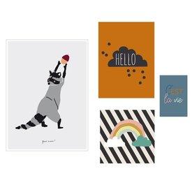 Mimi'lou Mimilou posters Hello (Set van 4)