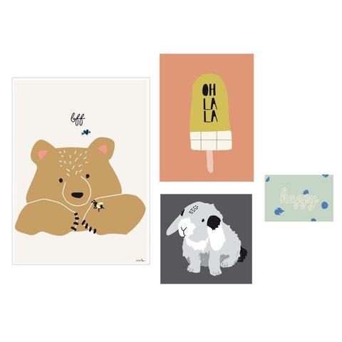 Mimilou posters Happy (Set of 4)