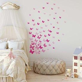 Roommates Roommates muursticker vlinders roze