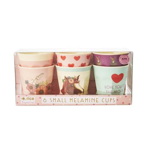 Rice melamine bekers Farm Animal prints roze