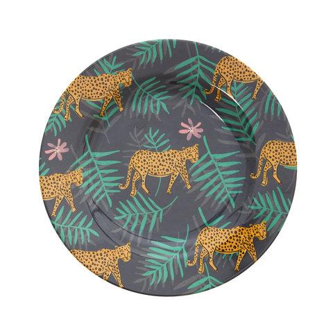 Rice melamine bord rond luipaard print