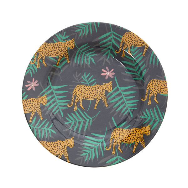 rice Denmark Rice melamine bord rond leopard and leaves print