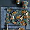 Rice melamine bord rond leopard and leaves print