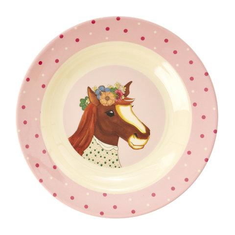 Rice melamine diep bord paard