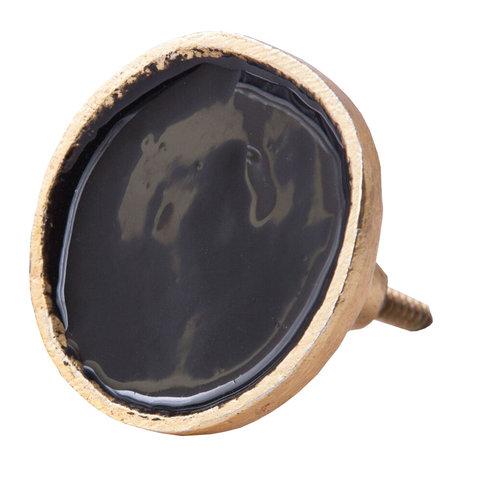 Bombay Duck deurknop  zwart met gouden rand
