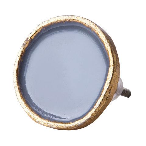 Bombay Duck deurknop  grijs met gouden rand