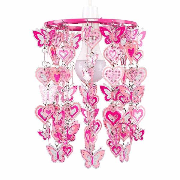 Kinderlamp kroonluchter vlinders roze