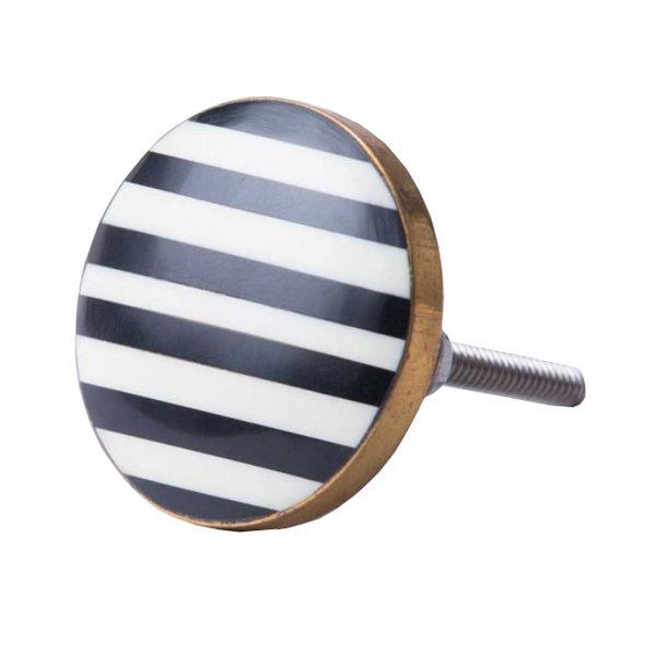 Bombay  Duck Bombay Duck deurknop strepen zwart wit met gouden rand