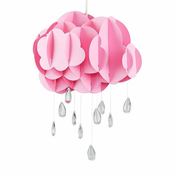 Kinderlamp wolk roze met regendruppels