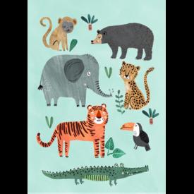 Petit Monkey Petit Monkey kinderposter wilde dieren 50 x 70