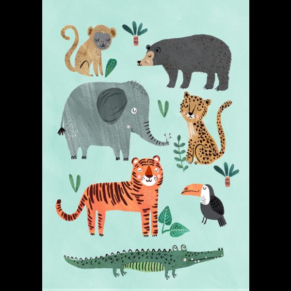 Petit Monkey Petit Monkey kinderposter 50 x 70 wilde dieren