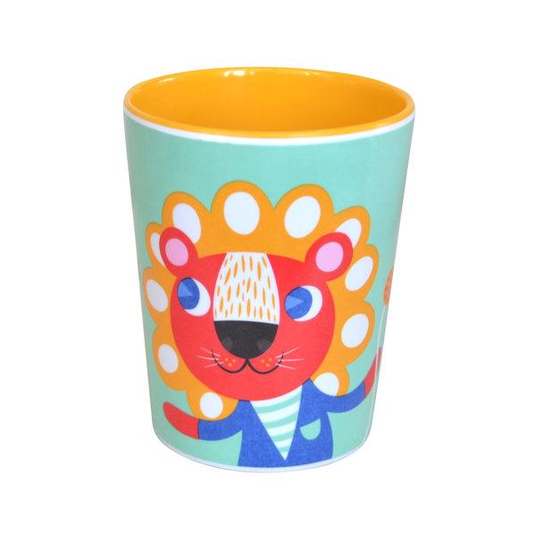Petit Monkey Petit Monkey melamine beker leeuw & tijger mint