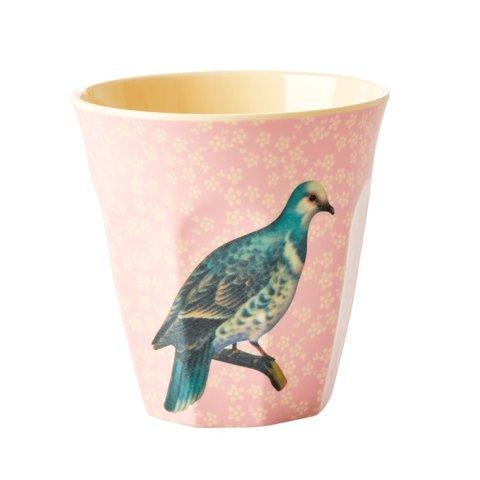 Rice melamine beker Vintage Bird lichtroze