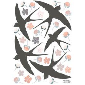 Lilipinso Lilipinso muursticker vogels zwaluwen en bloemen