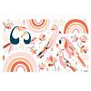 Lilipinso muursticker kinderkamer paradijsvogels roze en oranje
