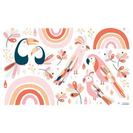 Lilipinso Lilipinso muurstickerparadijsvogels roze en oranje