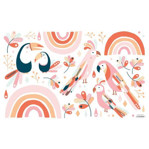 Lilipinso muursticker paradijsvogels roze en oranje