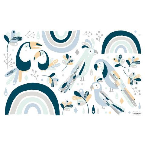 Lilipinso muurstickerparadijsvogels blauw