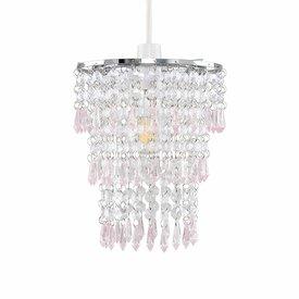 Kinderlamp kroonluchter roze transparant
