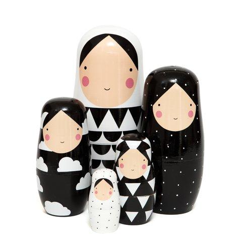 Petit Monkey nesting dolls zwart wit XL