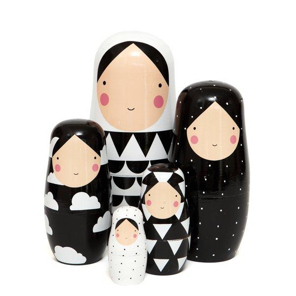 Petit Monkey Petit Monkey nesting dolls zwart wit XL