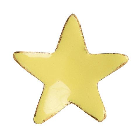 Bombay Duck deurknop ster geel met gouden rand