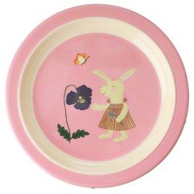 rice Denmark Rice melamine kinderbord konijn Bunny print roze