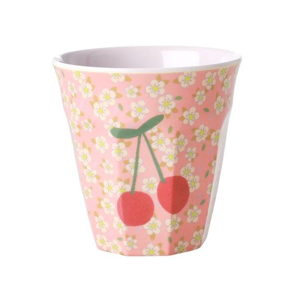 rice Denmark Rice melamine beker kersen en bloemen print Cherry