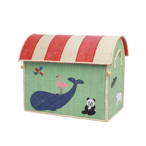 Rice speelgoedmand  dieren Animal Print groot