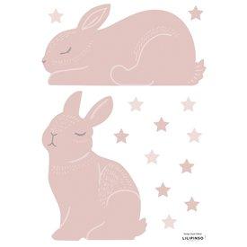 Lilipinso Lilipinso muursticker konijntjes konijntjes poeder roze